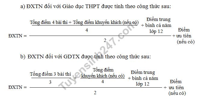 Công thức tính điểm xét tốt nghiệp THPT năm 2018