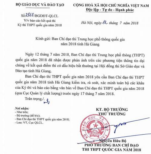 Bộ đã có công văn yêu cầu rà soát lại tất cả các công tác trong kỳ thi THPT quốc gia tại Hà Giang