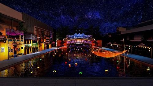 Hình ảnh chùa Cầu được tái hiện sinh động tại sự kiện.