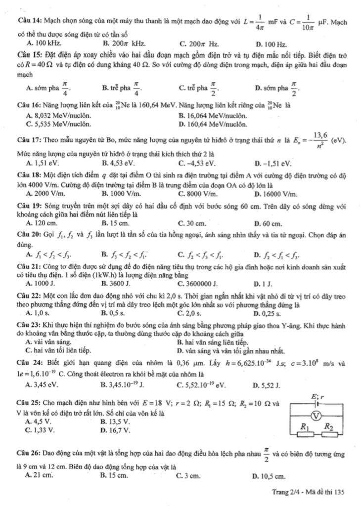 Đề thi thử môn Vật lý và đáp án của Trường THPT Lương Thế Vinh