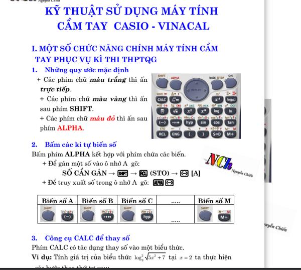 23 kỹ thuật giải toán bằng máy tính cầm tay Casio và Vinacal khi thi THPT quốc gia