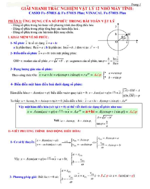 Cách dùng máy tính Casio giải nhanh trắc nghiệm môn Vật lý 12