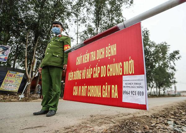 Chốt chặn kiểm soát dịch bệnh tại xã Sơn Lôi Vĩnh Phúc